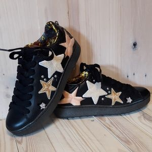 *NIB* Coach Black Leather Sneakers with Stars!